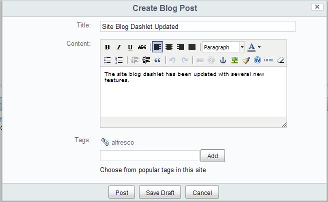 Share Extras - site-blog-dashlet